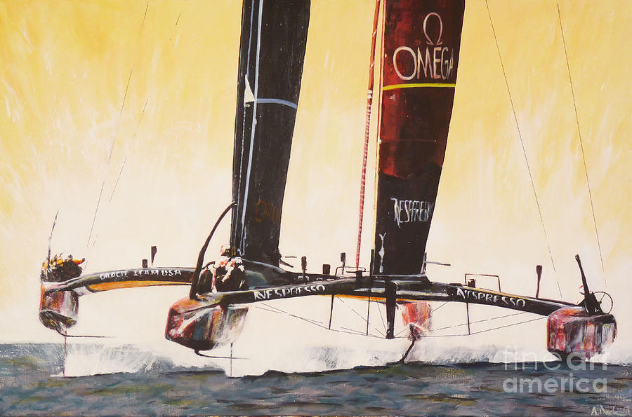 America's Cup Painting - Americas Cup 2013 Series V by Anna Duckworth