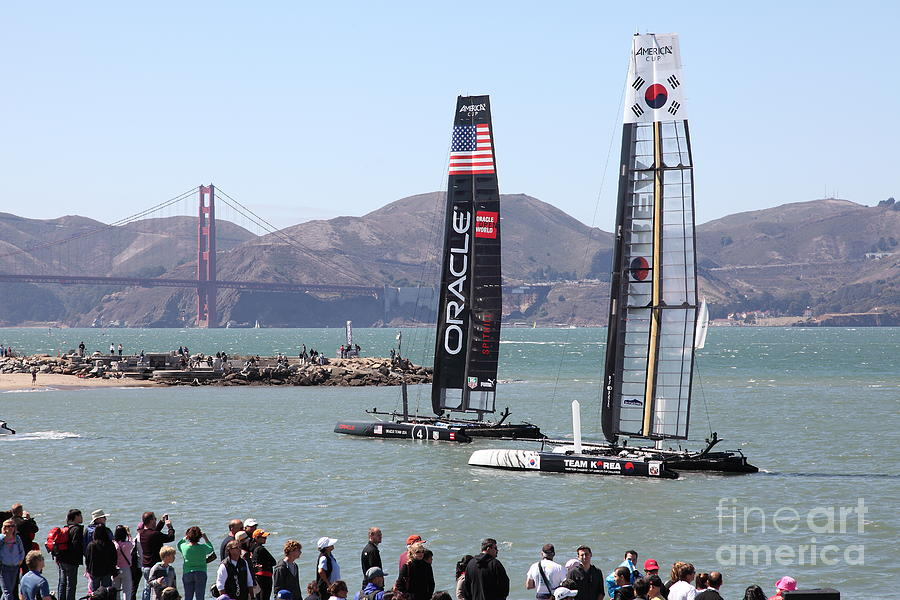 San Francisco Photograph - Americas Cup Racing Sailboats In The San Francisco Bay - 5d18253 by Wingsdomain Art and Photography