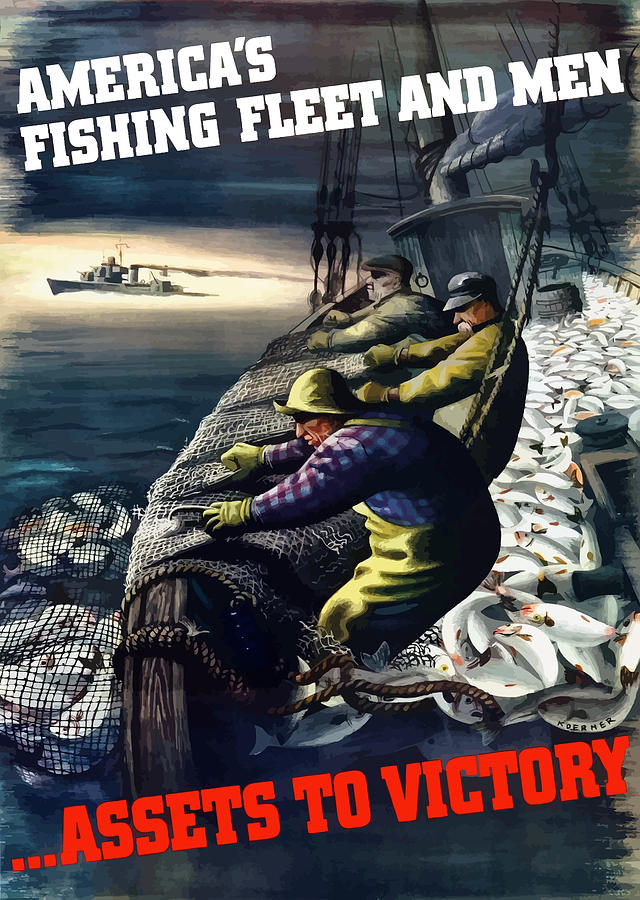 Fishing Painting - Americas Fishing Fleet And Men  by War Is Hell Store