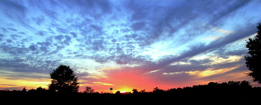 Sunset Photograph - City on a Hill - Americus, GA Sunset by Jerry Battle