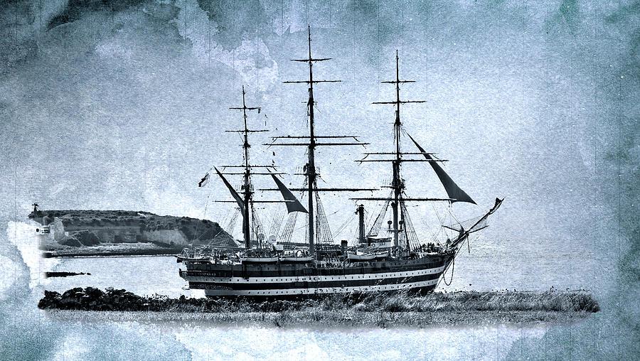 Vintage Photograph - Amerigo Vespucci Sailboat In Blue by Pedro Cardona Llambias