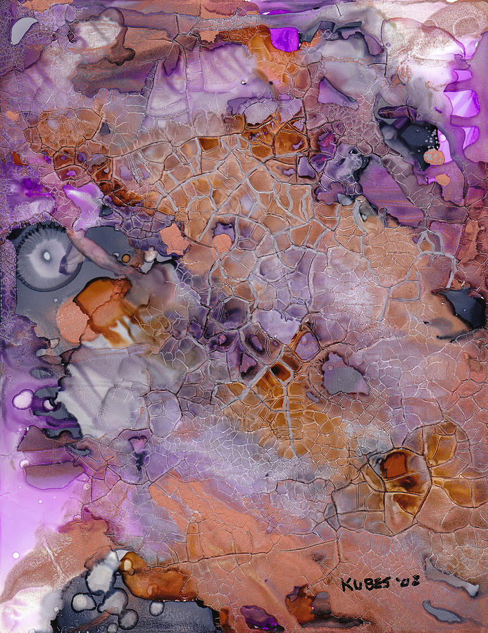 Abstract Mixed Media - Amethyst And Copper by Susan Kubes