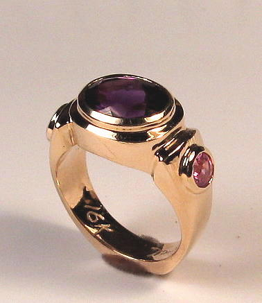 Amethyst Jewelry - Amethyst and Sapphire deco ring by Danny Shaw