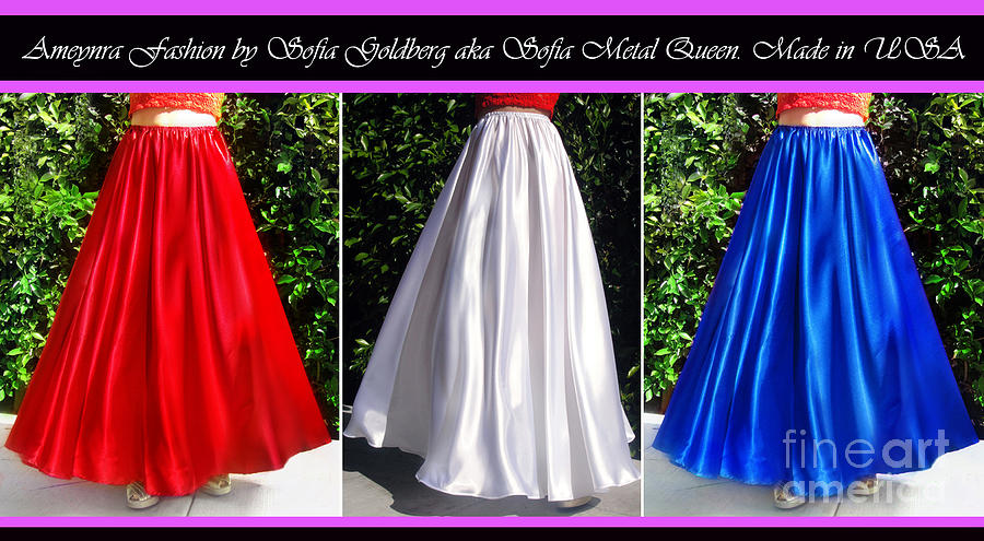 Skirt Photograph - Ameynra Design. Satin Skirts - Red, White, Blue by Sofia Metal Queen