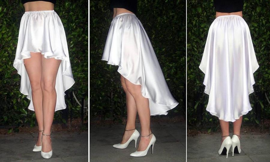 Skirt Photograph - Ameynra Fashion White Satin High Low Skirt  by Sofia Metal Queen