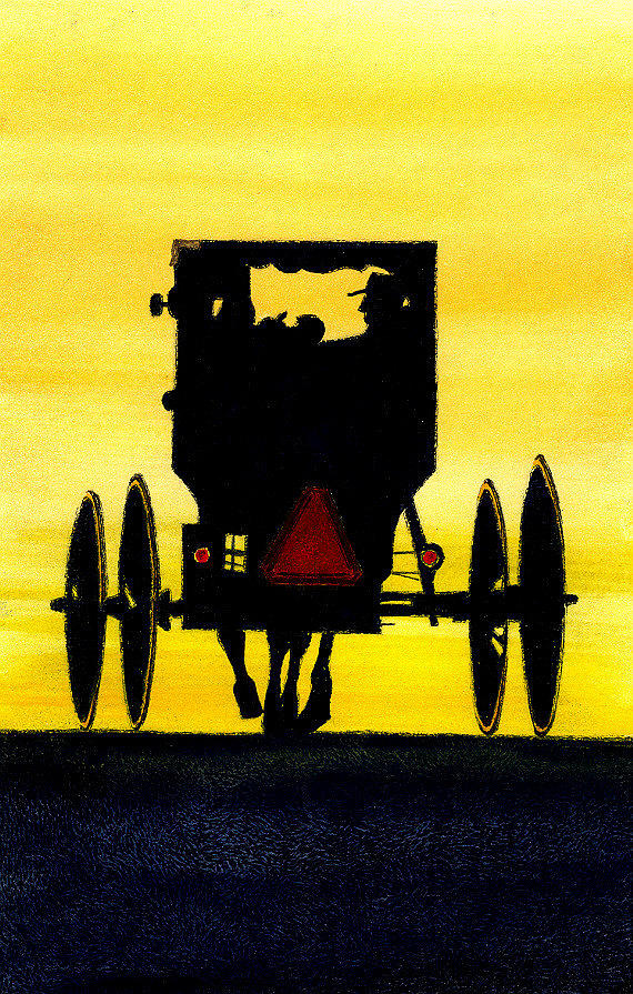 Amish Painting - Amish Buggy At Dusk by Michael Vigliotti