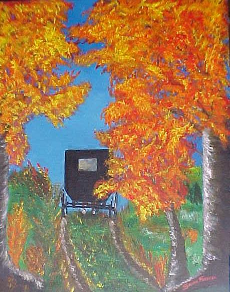 Amish Buggy Painting by Susan Ferrell