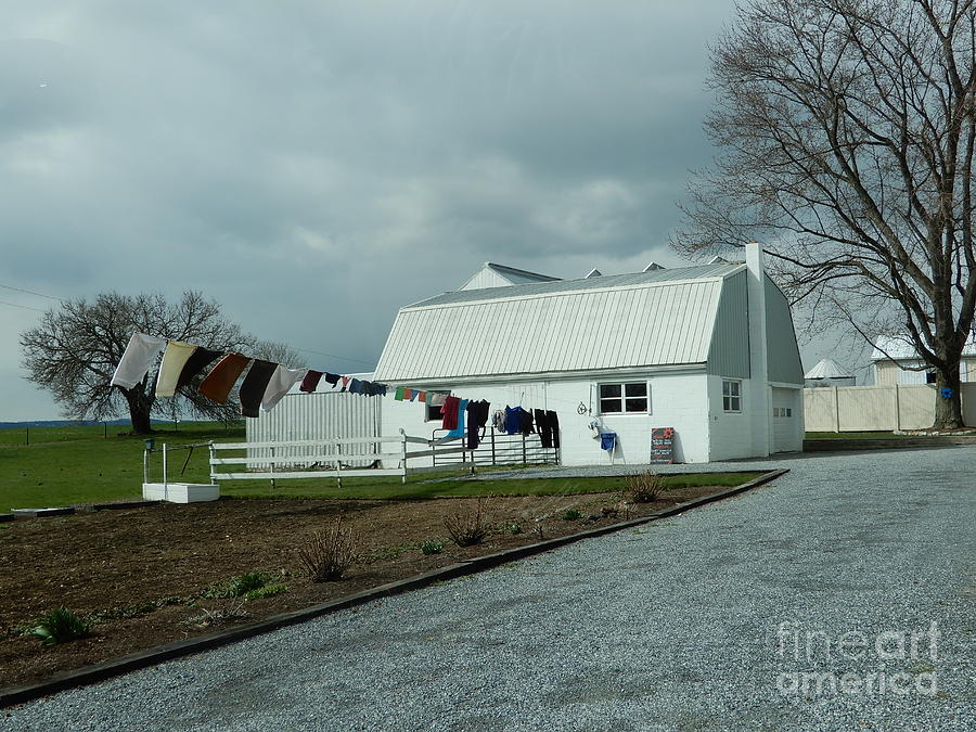 Amish Photograph - Amish Clothesline And A Barn by Christine Clark