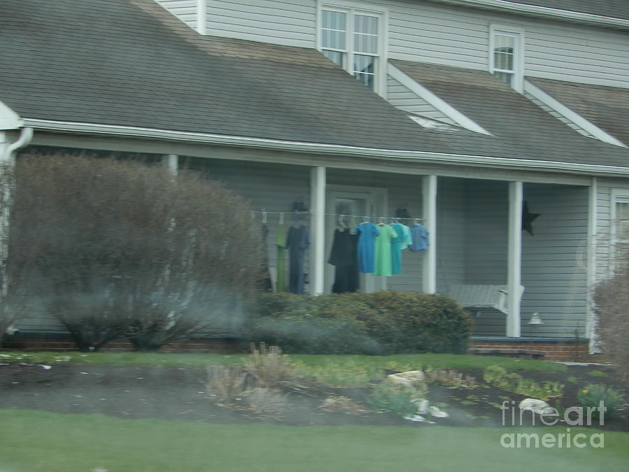 Amish Photograph - Amish Clothing Hanging To Dry by Christine Clark