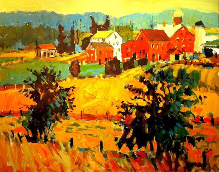 Landscape Paintings Painting - Amish Farms by Brian Simons