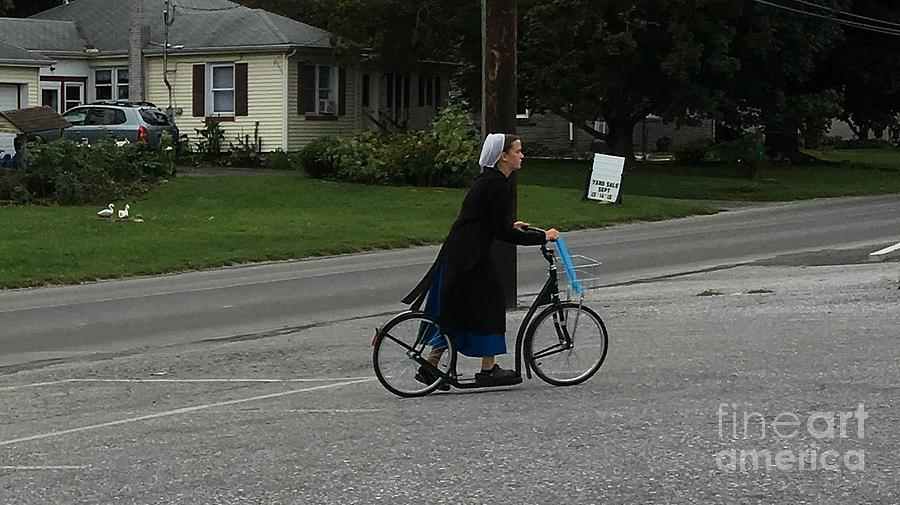 Amish Photograph - Amish Girl Going To Work by Christine Clark