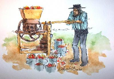 Amish Man Painting - Amish Man Pressing Cider by Larry Wetherholt