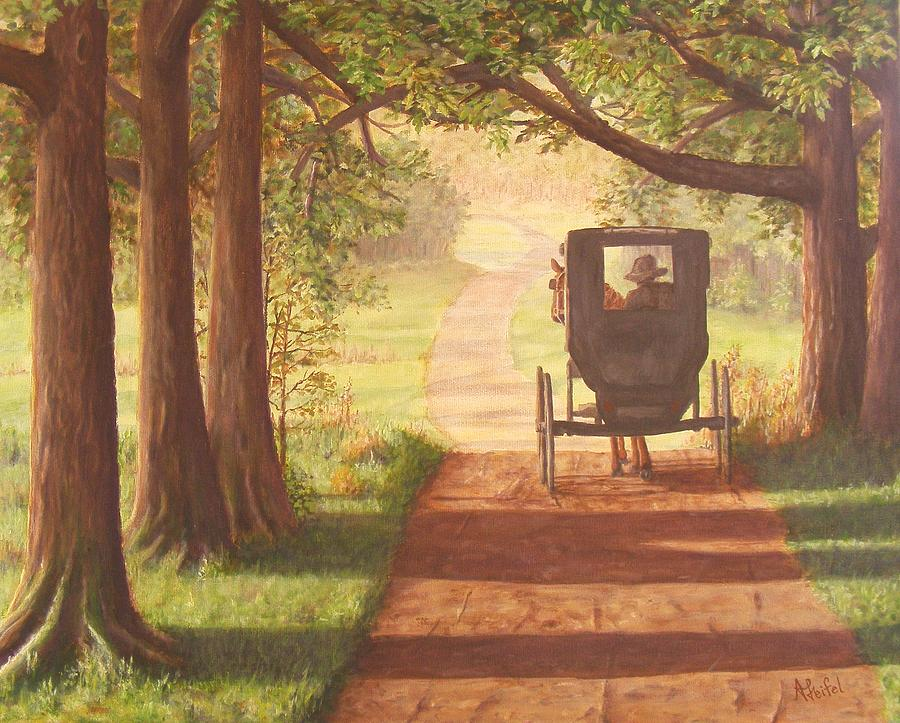 Amish Painting Horse And Buggy Country Trails Painting By