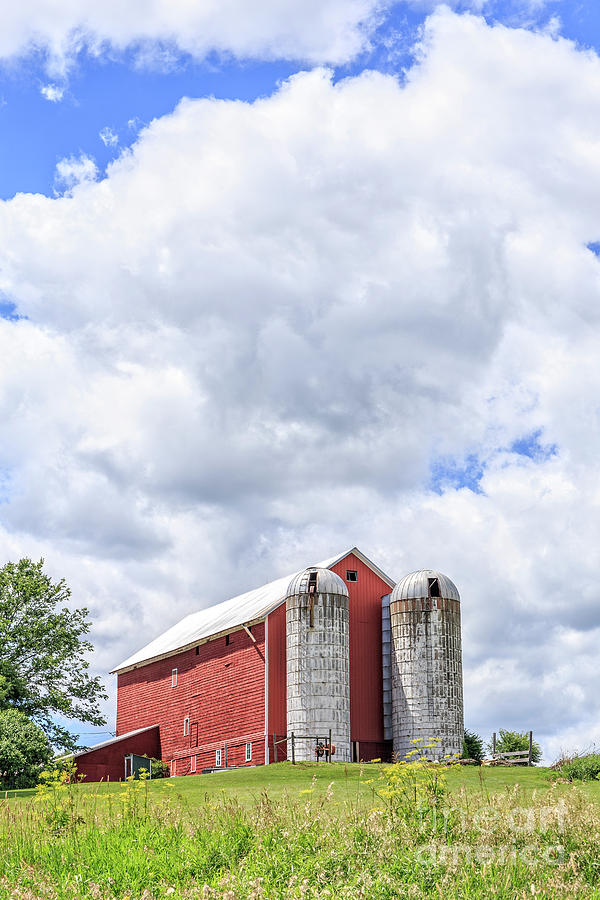 Amish Farm Photograph - Amish Red Barn And Silos by Edward Fielding