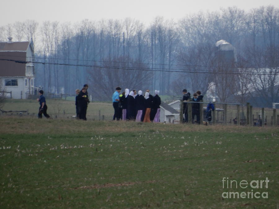 Amish Photograph - Amish Teens At An Easter Monday Gathering by Christine Clark