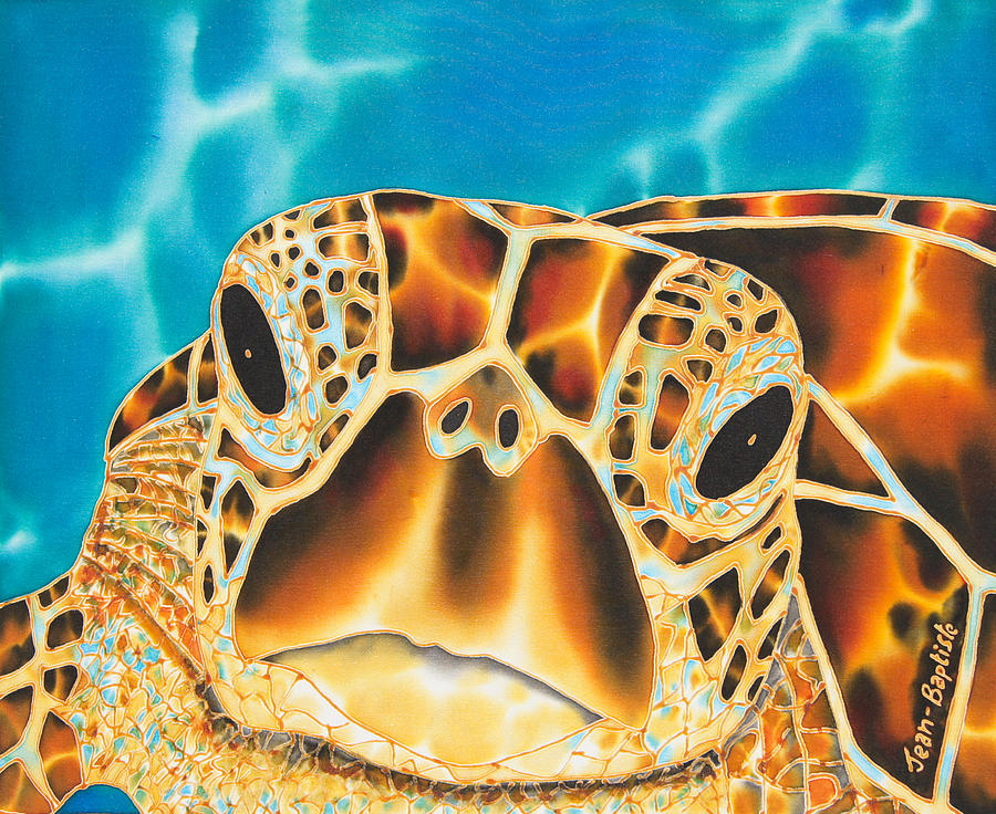 Hand Painted Silk Painting - Amitie Sea Turtle by Daniel Jean-Baptiste