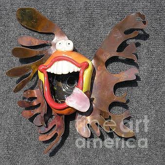 Whimsical Fish Mixed Media - amlongo  dot  com      3-D Metal Fin  by Tony Longo