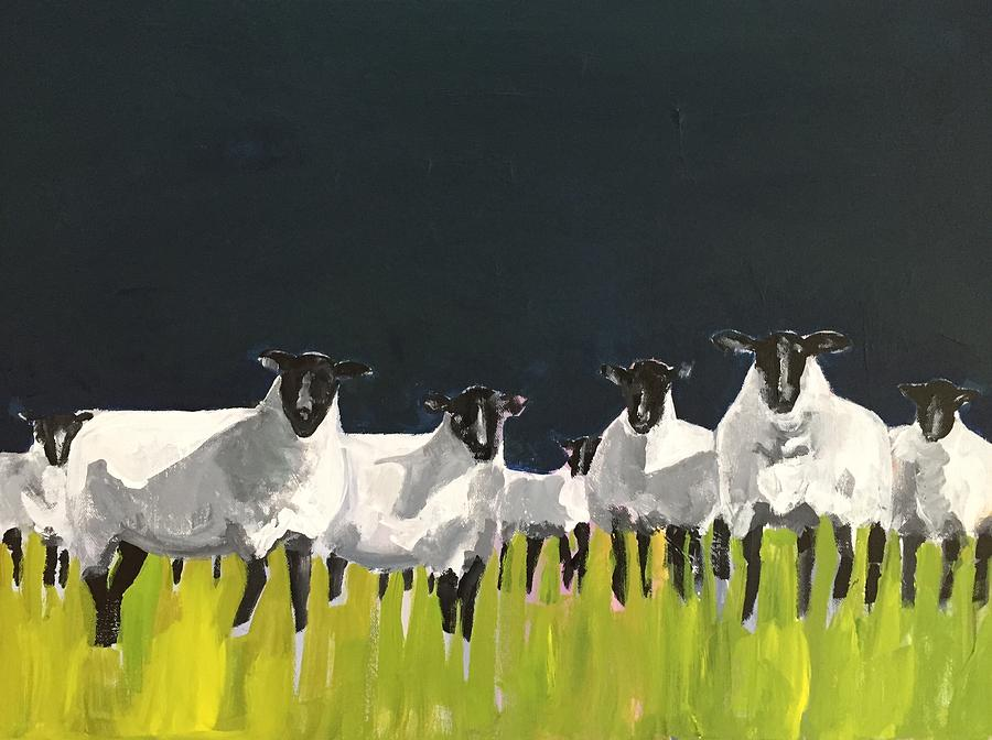 Sheep Painting - Among Friends by Molly Wright