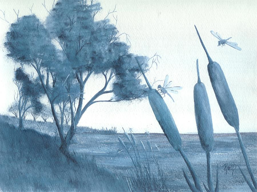 Watercolor Painting - Among The Cattails... No. Four by Robert Meszaros
