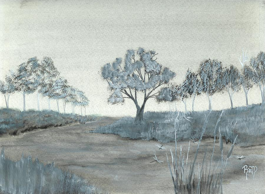Watercolor Painting - Among The Cattails... No. One by Robert Meszaros
