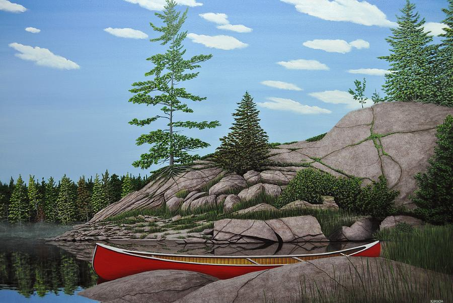 Canoes Painting - Among The Rocks II by Kenneth M  Kirsch