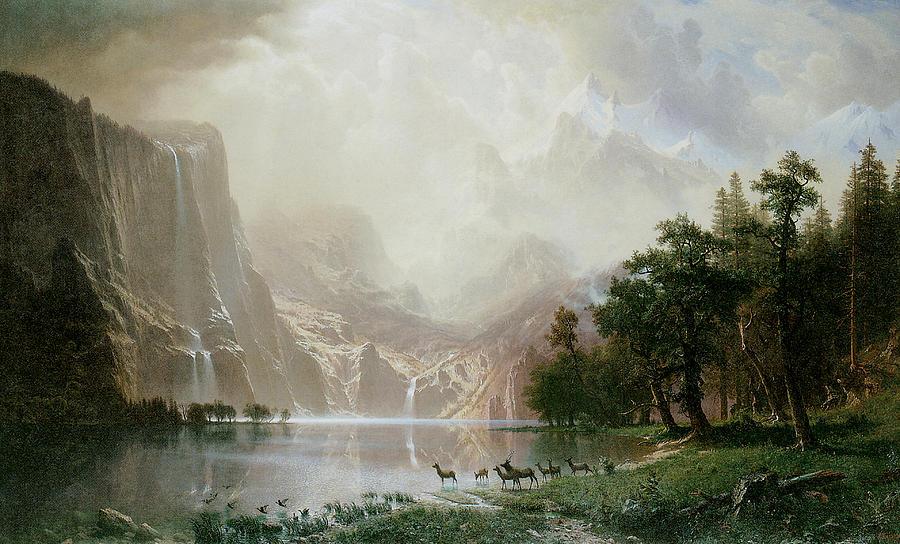 Albert Bierstadt Painting - Among The Sierra Nevada Mountains California by Albert Bierstadt