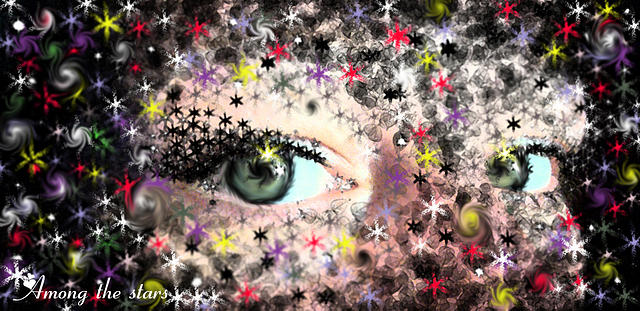 Eyes Mixed Media - Among The Stars by Hollie Leffel