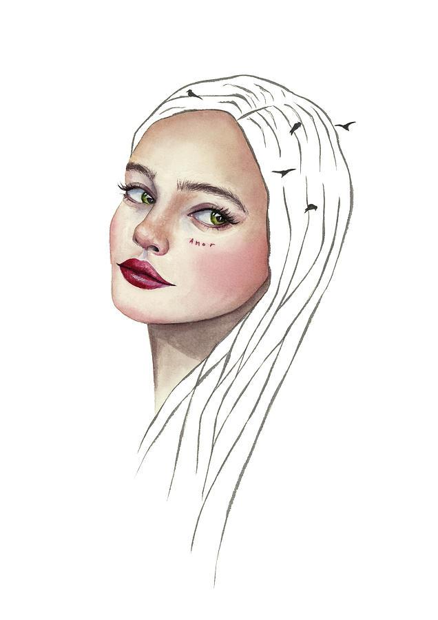 Watercolor Painting - Amor by Zapista Zapista
