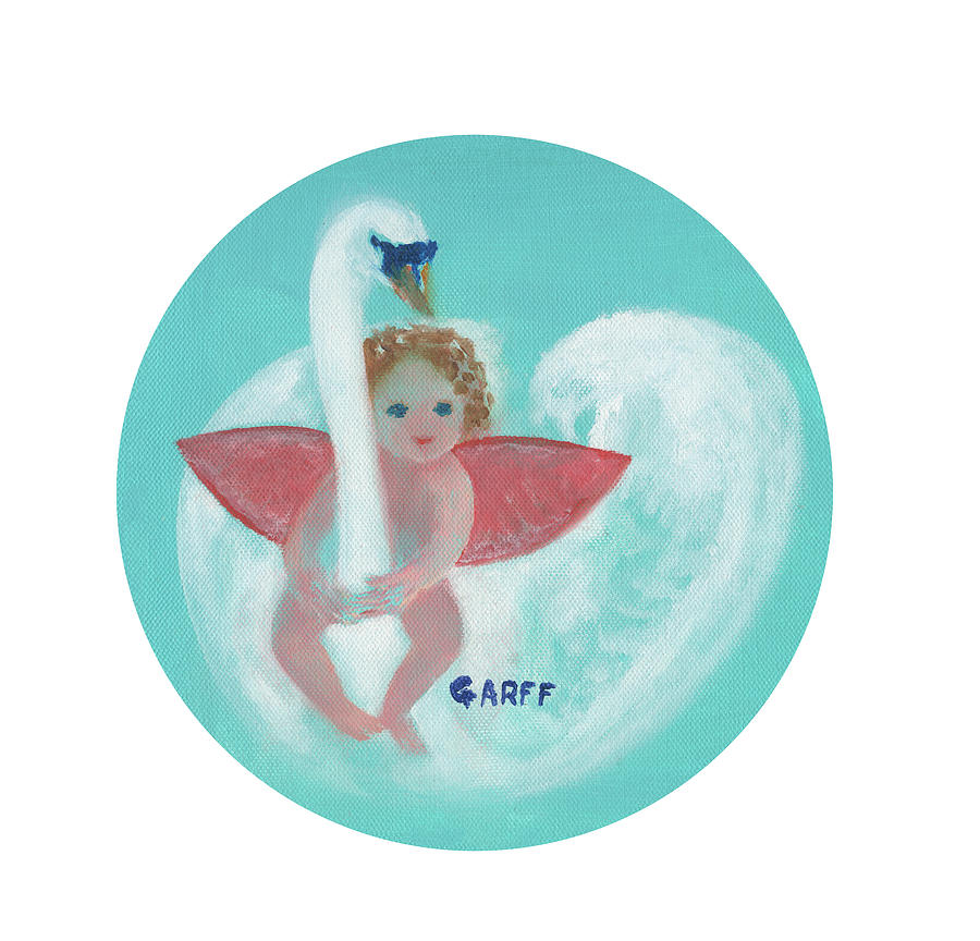 Cupid Painting - Amorino with Swan by Enrico Garff