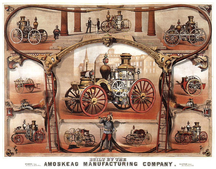 Vintage Mixed Media - Amoskeag Manufacturing Company - Car - Vintage Advertising Poster by Studio Grafiikka