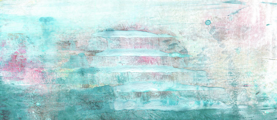 Amour - Contemporary Pastel Blue And Pink Bright Abstract Art Painting by Modern Abstract