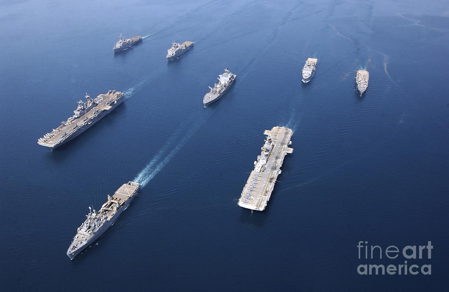 Color Image Photograph - Amphibious Task Force-west In Formation by Stocktrek Images