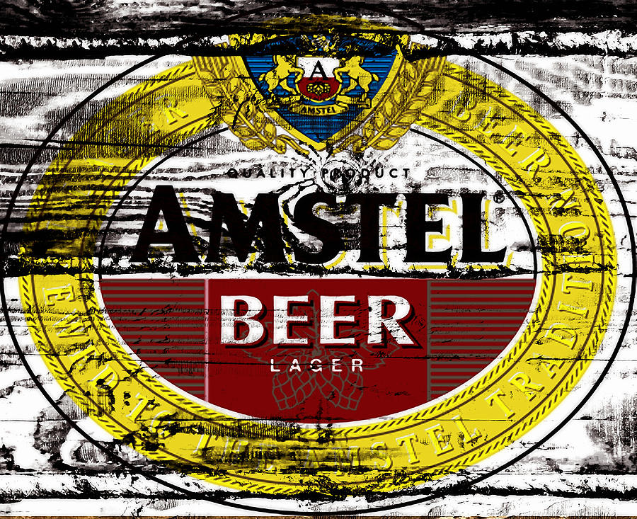 Amstel Mixed Media - Amstel Beer Sign  by Brian Reaves