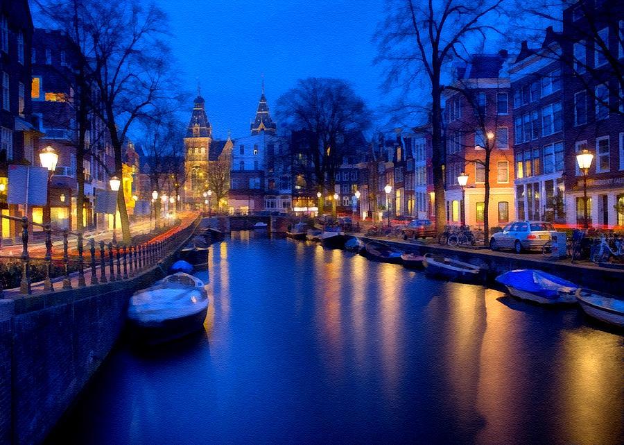 Amsterdam Digital Art - Amsterdam - A Canal Scene At Night . L B by Gert J Rheeders