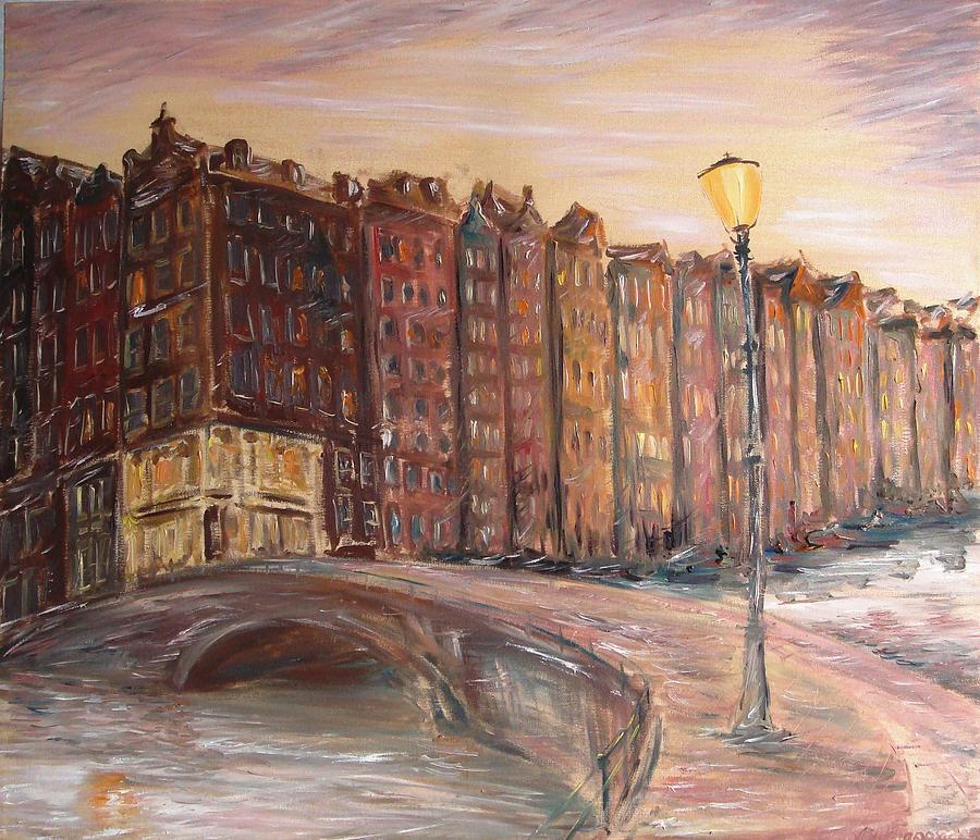 Amsterdam Painting - Amsterdam At Dawn by Alexander Bukhanov
