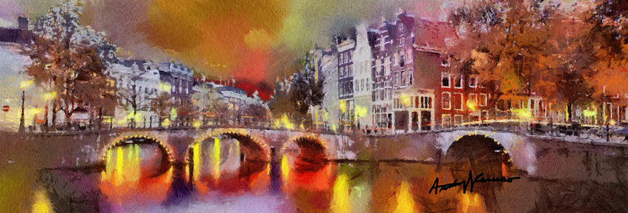 Amsterdam Painting - Amsterdam At Night by Anthony Caruso