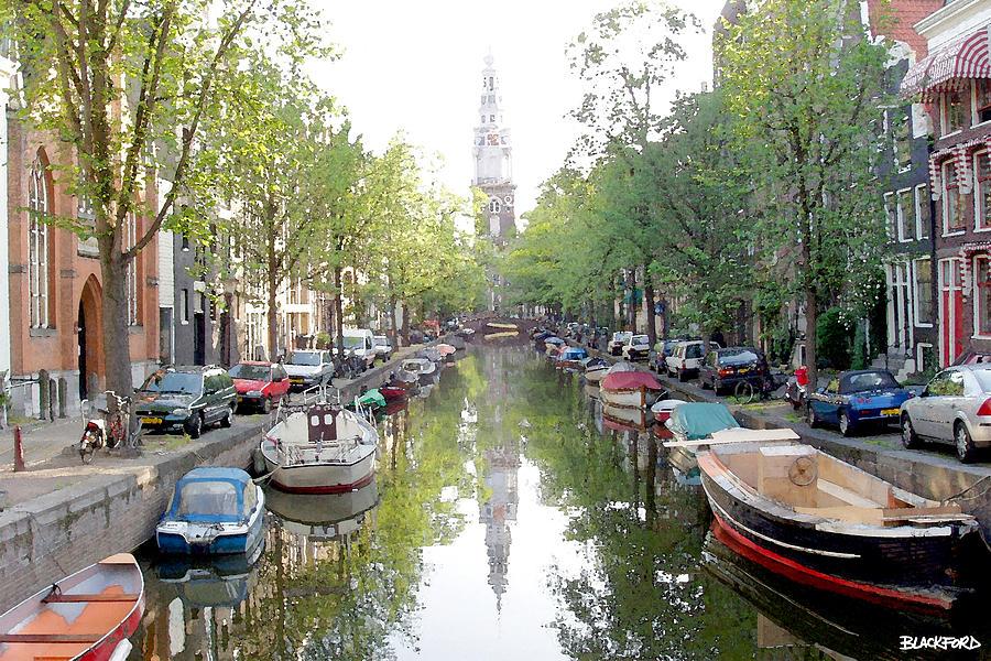Amsterdam Digital Art - Amsterdam Canal by Al Blackford