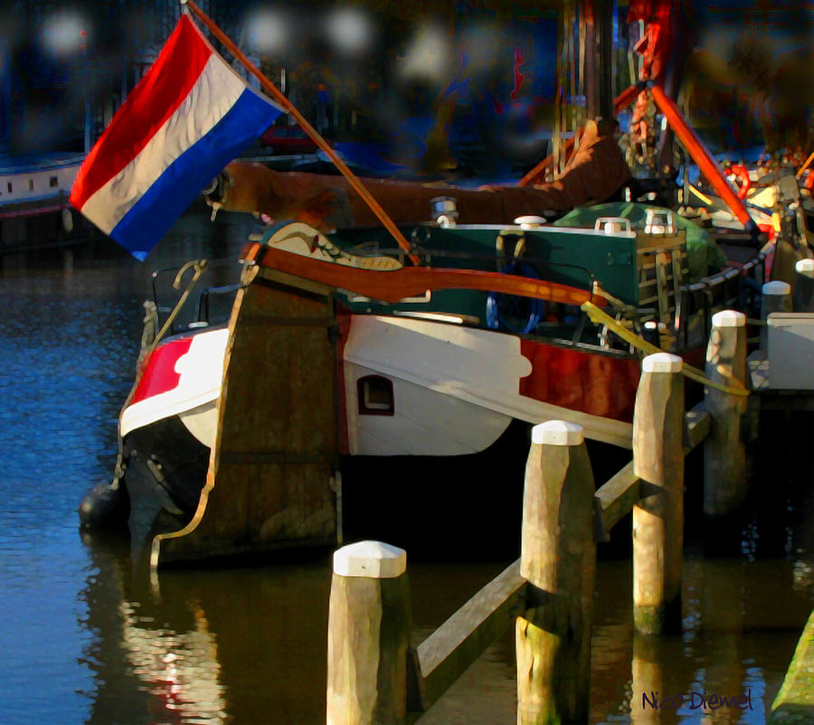 Canal Photograph - Amsterdam Canal Barge by Nick Diemel