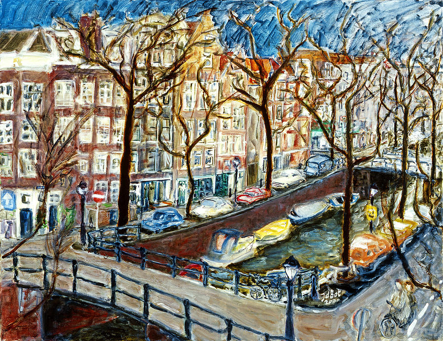 Amsterdam Canal Painting by Joan De Bot