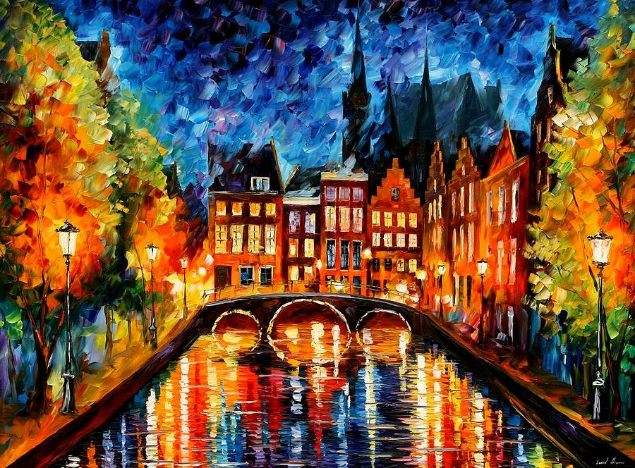 Amsterdam canal painting by leonid afremov - Kleur schilderij ingang ...