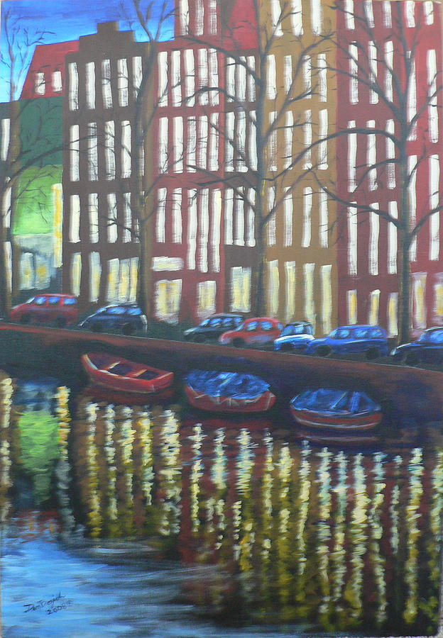 Canal Painting - Amsterdam Evening by Dan Bozich