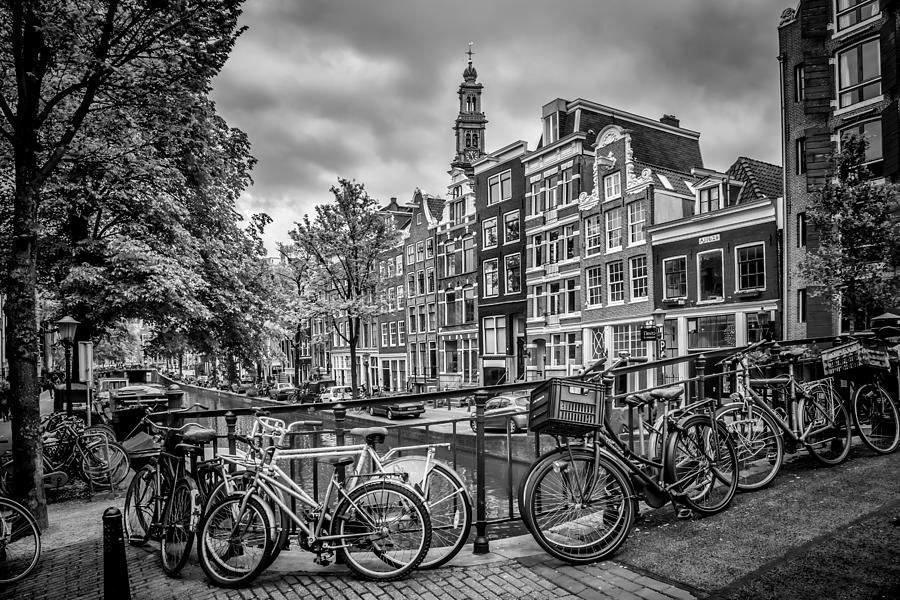 Amsterdam Photograph - Amsterdam Flower Canal Black And White by Melanie Viola