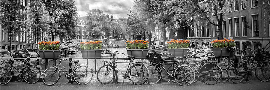 Amsterdam Photograph - Amsterdam Gentlemens Canal Panoramic View by Melanie Viola