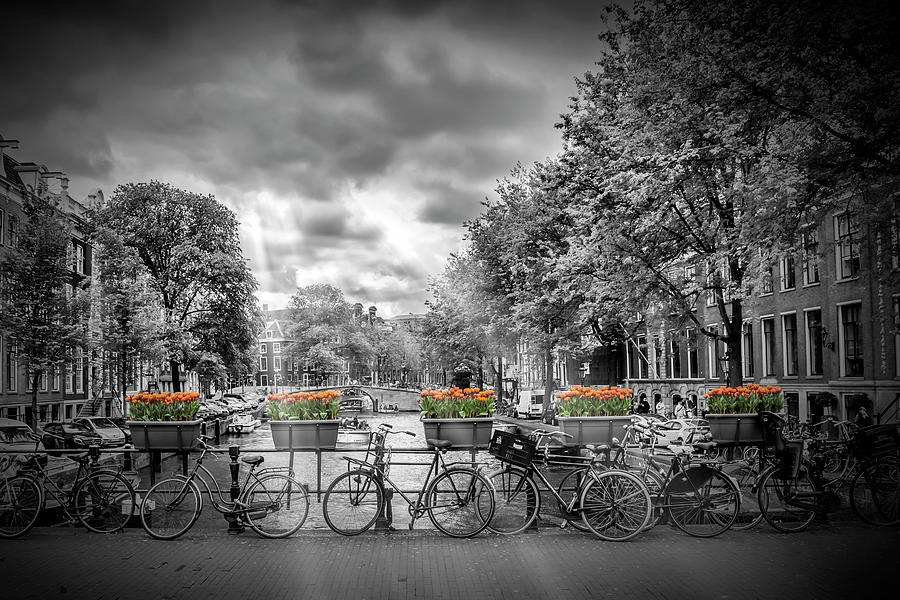 Amsterdam Photograph - Amsterdam Gentlemens Canal Typical Cityscape by Melanie Viola