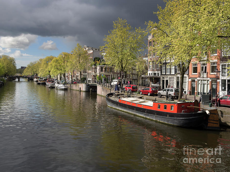 Amsterdam Photograph - Amsterdam Prinsengracht Canal by Louise Heusinkveld