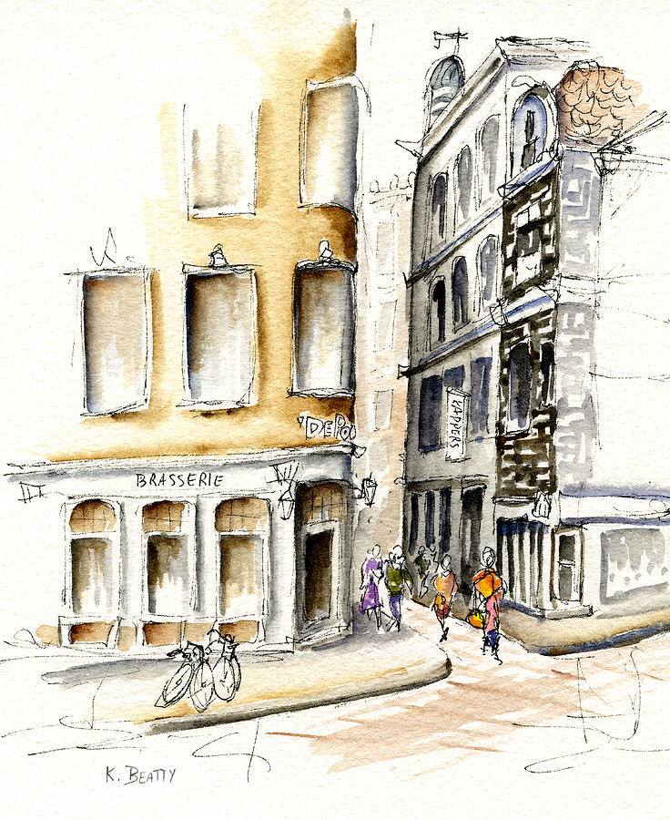 Watercolor Painting - Amsterdam Street Scene by Karla Beatty