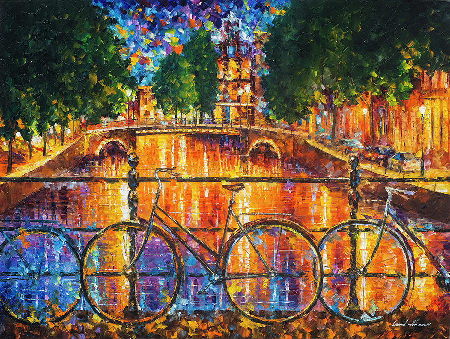 Painting Painting - Amsterdam - The Bridge Of Bicycles  by Leonid Afremov