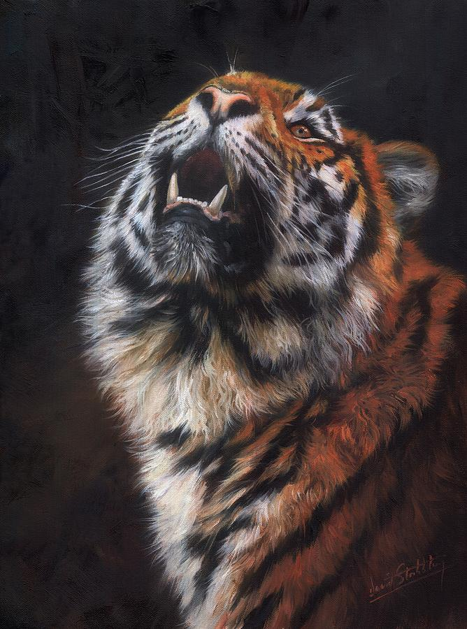 Amur Tiger Looking Up Painting