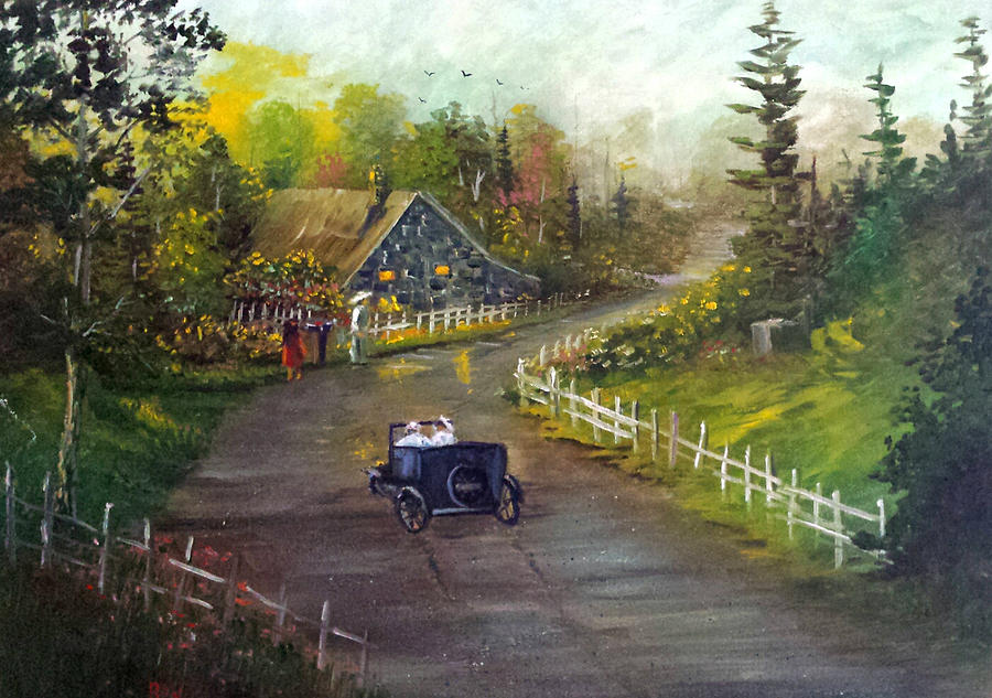 Amusing Old Car Ride Painting by Bryan Benson