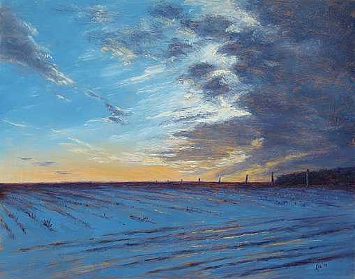 Landscape Painting - Amwell Valley Dusk by Joe Kazimierczyk
